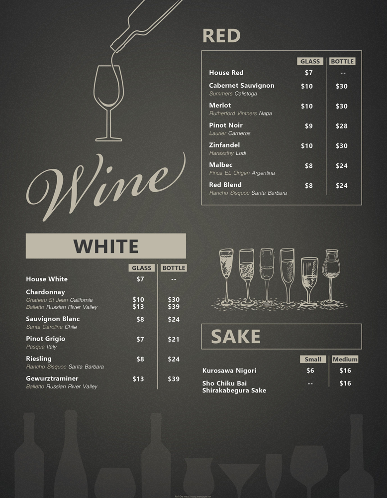 Wine and Sake menu at The Baan Thai Cuisine