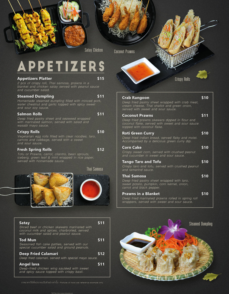 Appetizers and starter menu at The Baan Thai Cuisine