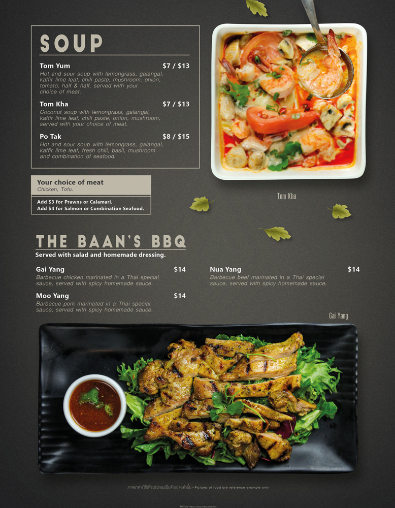 soup and bbq menu at The Baan Thai Cuisine