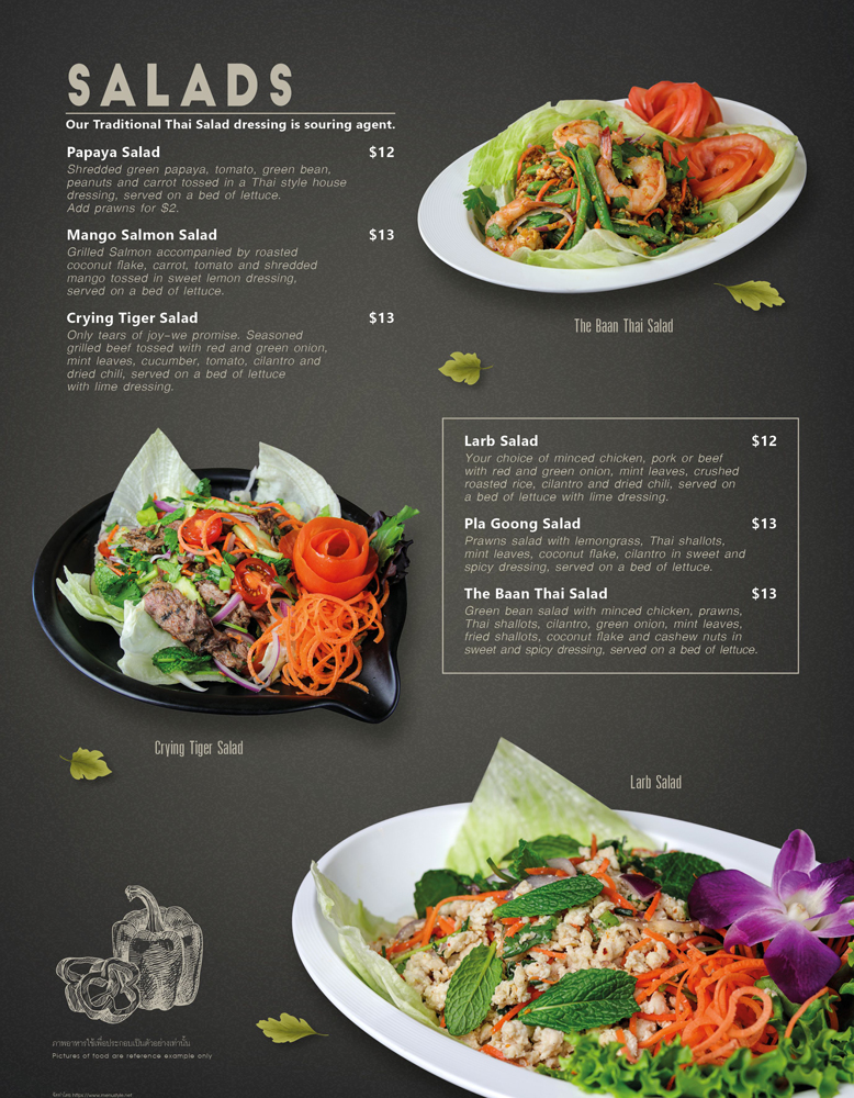 salad menu at The Baan Thai Cuisine