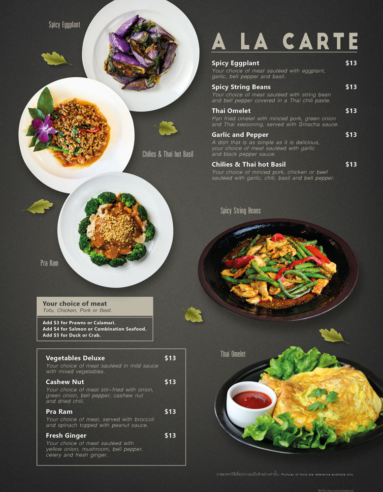 A la carte or on tray menu at The Baan Thai Cuisine