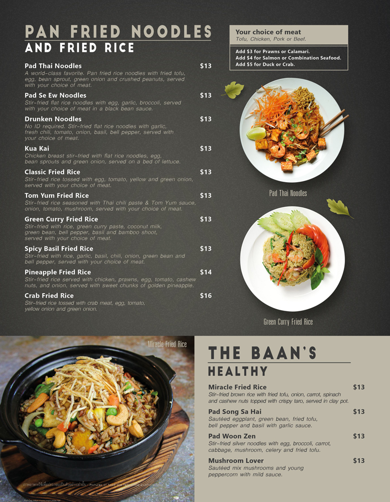 Healthy, Noodle and Fried Rice menu at The Baan Thai Cuisine