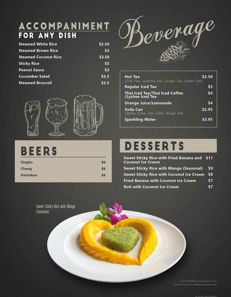 Beer and beverage menu at The Baan Thai Cuisine